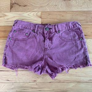 Free people purple denim shorts